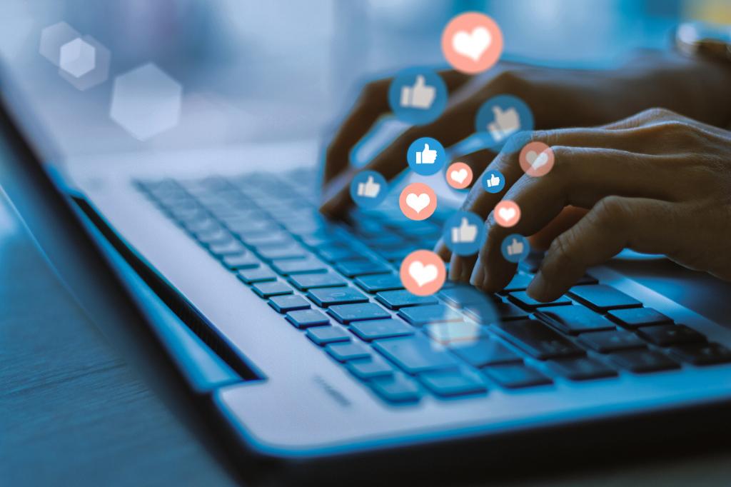 social media typing laptop
