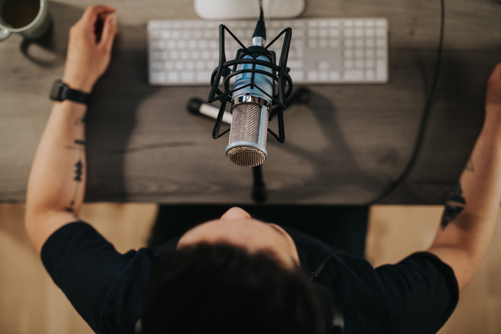 person doing podcast